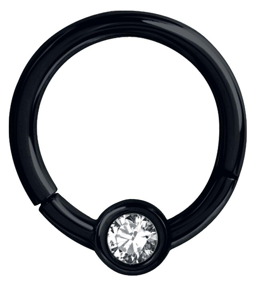 Steel Basicline® Crystal Clicker Piercing schwarz