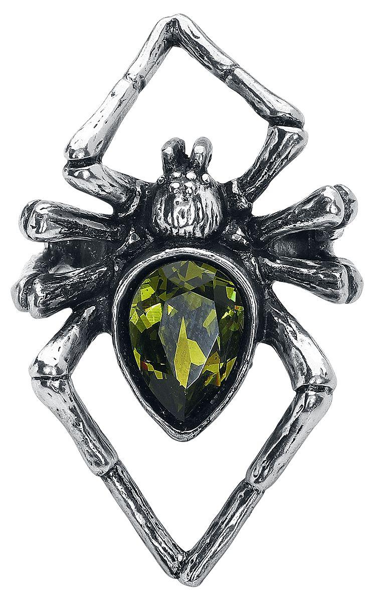 Image of   Alchemy Gothic Emerald Venom Ring sølvfarvet