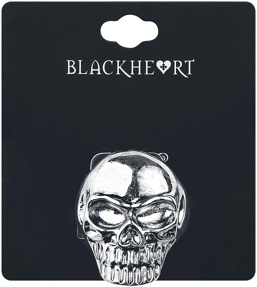 Image of   Blackheart Skull Ring sølvfarvet