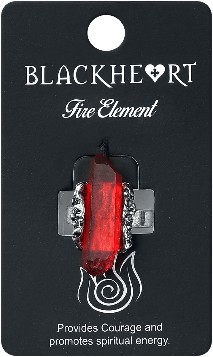 Image of   Blackheart Fire Element Crystal Ring Ring rød