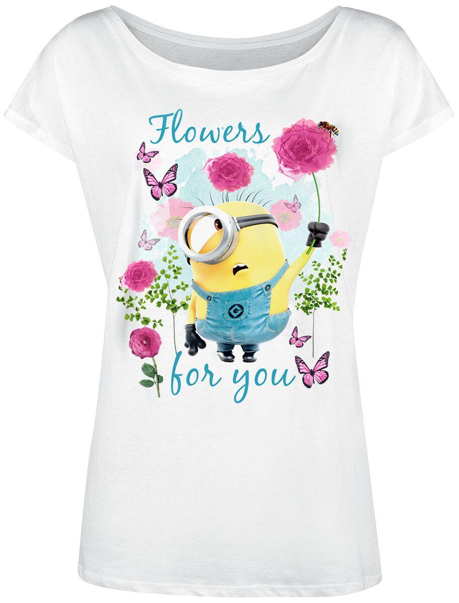Image of   Minions Flowers Girlie trøje hvid