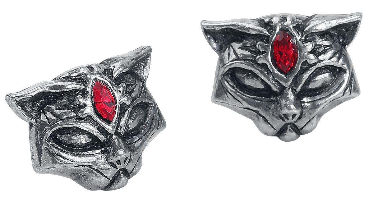 Image of   Alchemy Gothic Sacred Cat Studs Ørestik sæt sølvfarvet
