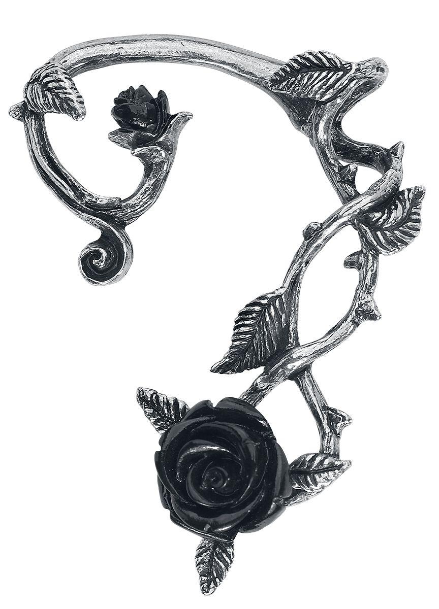 Image of   Alchemy Gothic Black Rose Ear Wrap Ørestik sølvfarvet