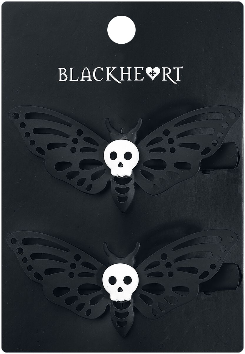 Image of   Blackheart Death's Head Moth Barrette Set Hårspænde sort-hvid