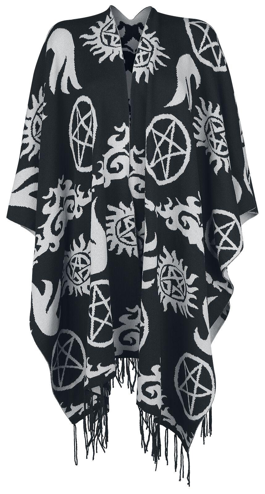 Image of   Supernatural Symbols Poncho sort-grå