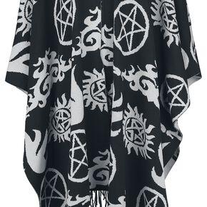 Supernatural Symbols Poncho noir/gris