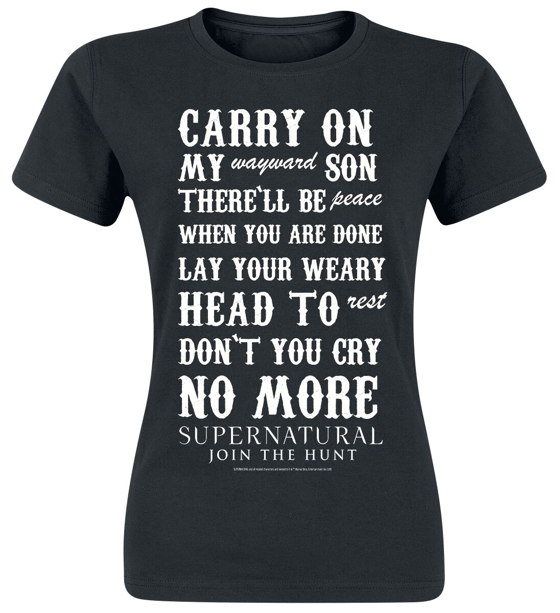 Image of   Supernatural Carry On Girlie trøje sort