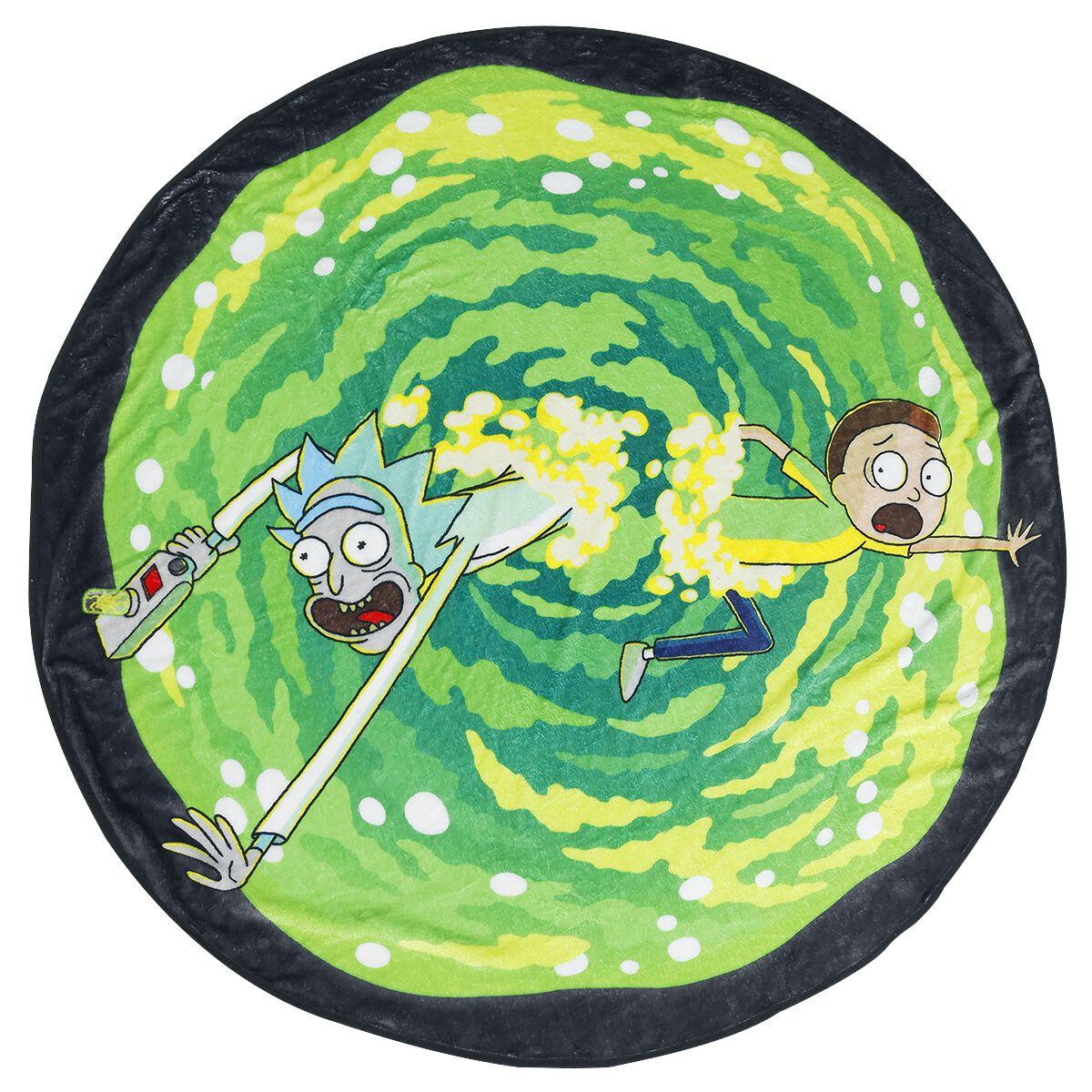 Image of   Rick And Morty Portal Fleecetæppe multifarvet