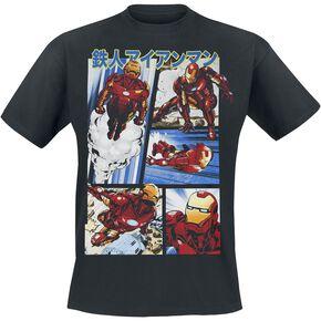 Iron Man Planches De Comics T-shirt noir