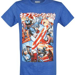 Captain America Anime Panels T-shirt bleu chiné