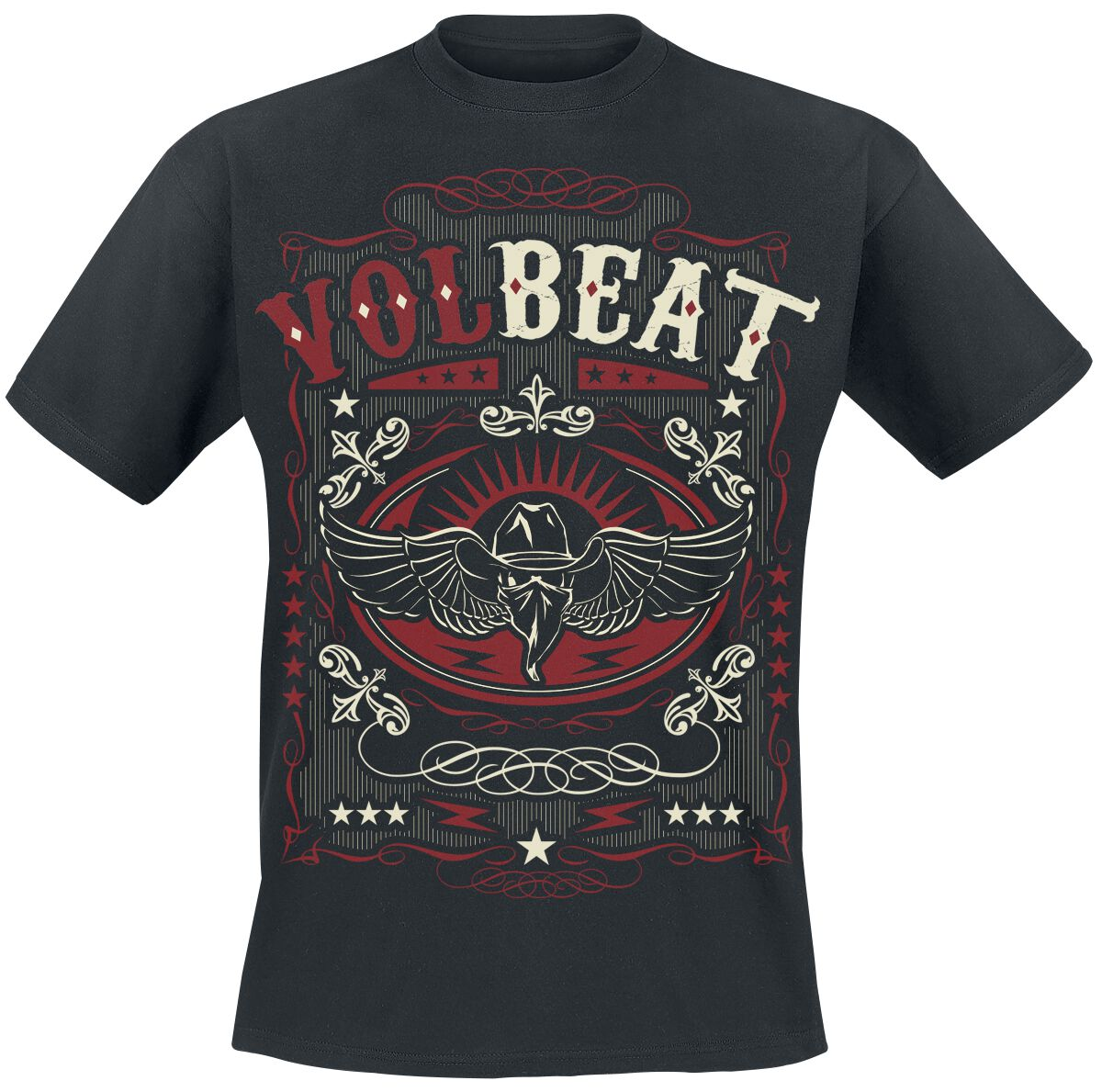 Image of   Volbeat Western Wings Black T-Shirt sort