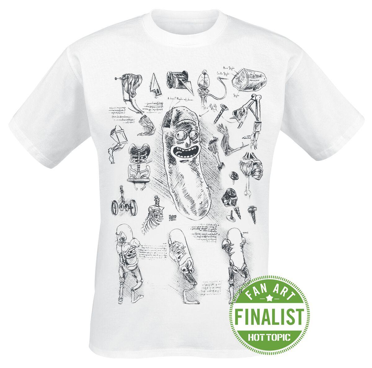 Image of   Rick And Morty Da Vinci Pickle Rick T-Shirt hvid