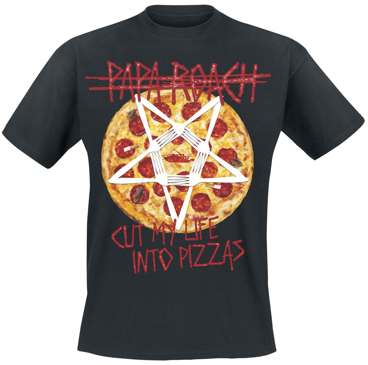 Zespoły - Koszulki - T-Shirt Papa Roach Pizza T-Shirt czarny - 377455