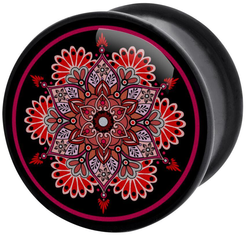 Image of   Wildcat Flourish Mandala Plugs sort-rød