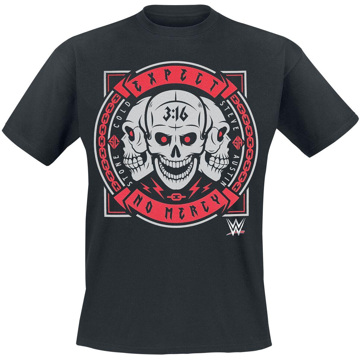 Merch dla Fanów - Koszulki - T-Shirt WWE Steve Austin - Expect No Mercy T-Shirt czarny - 377796