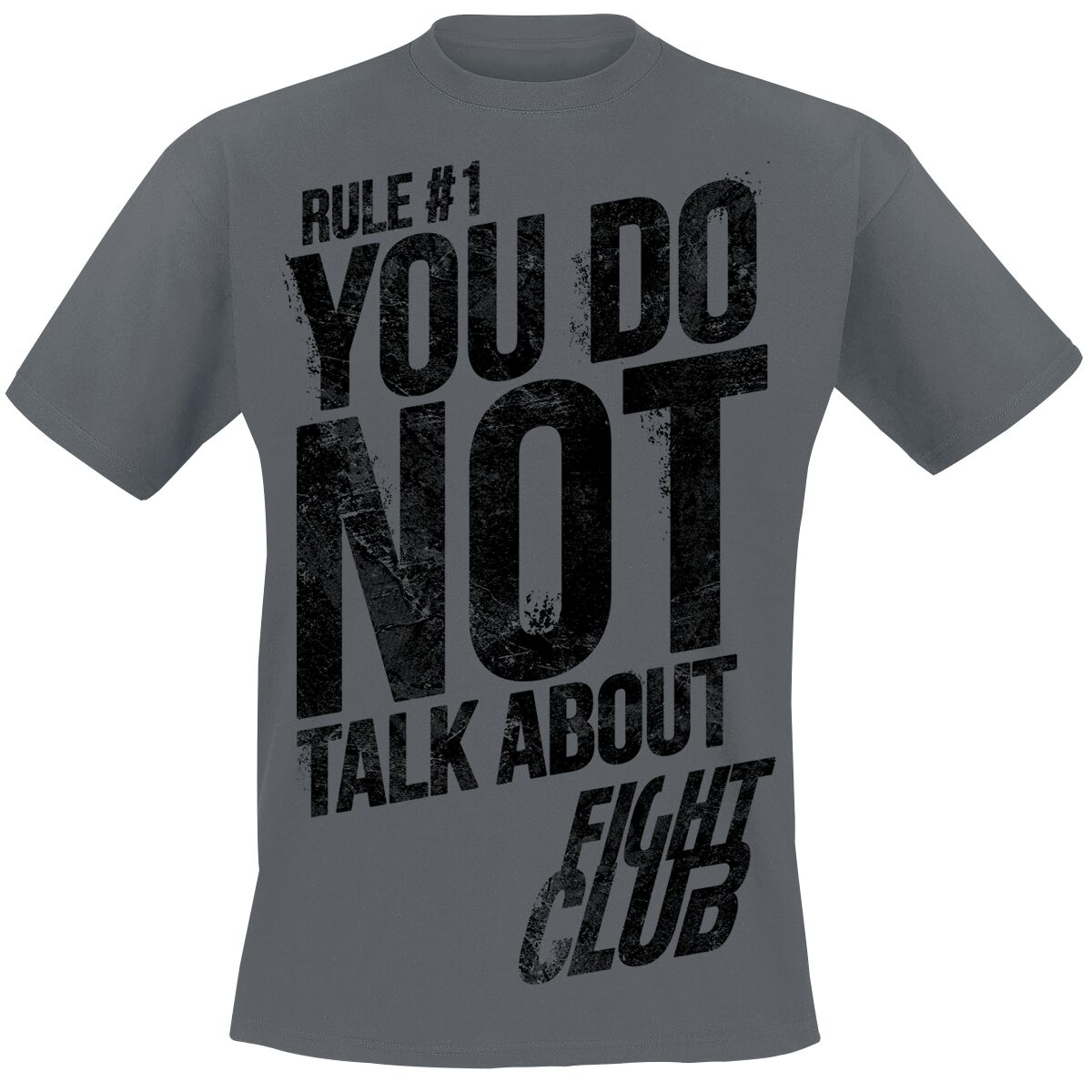 Merch dla Fanów - Koszulki - T-Shirt Fight Club Rule No. 1 - Don't Talk About Fight Club T-Shirt ciemnoszary - 377933