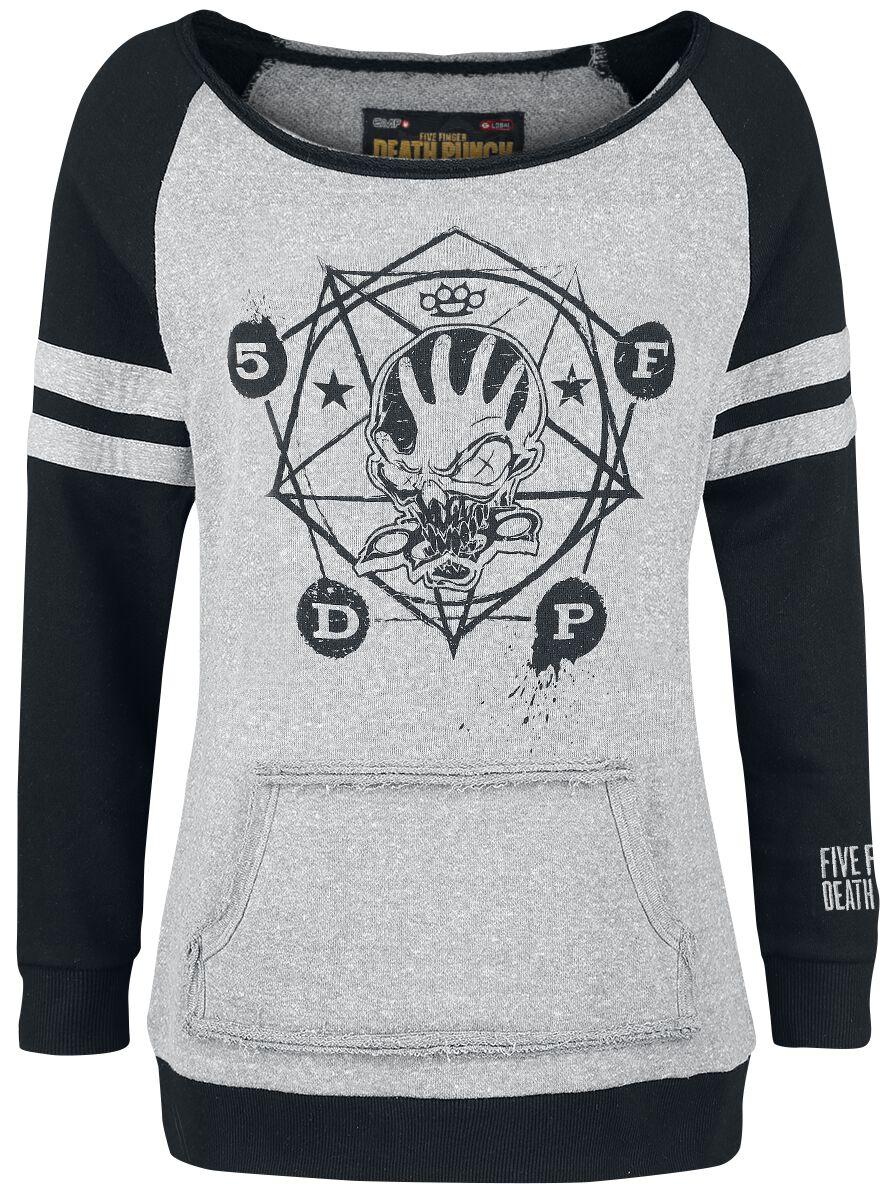 Image of   Five Finger Death Punch EMP Signature Collection Girlie sweatshirt blandet grå-sort