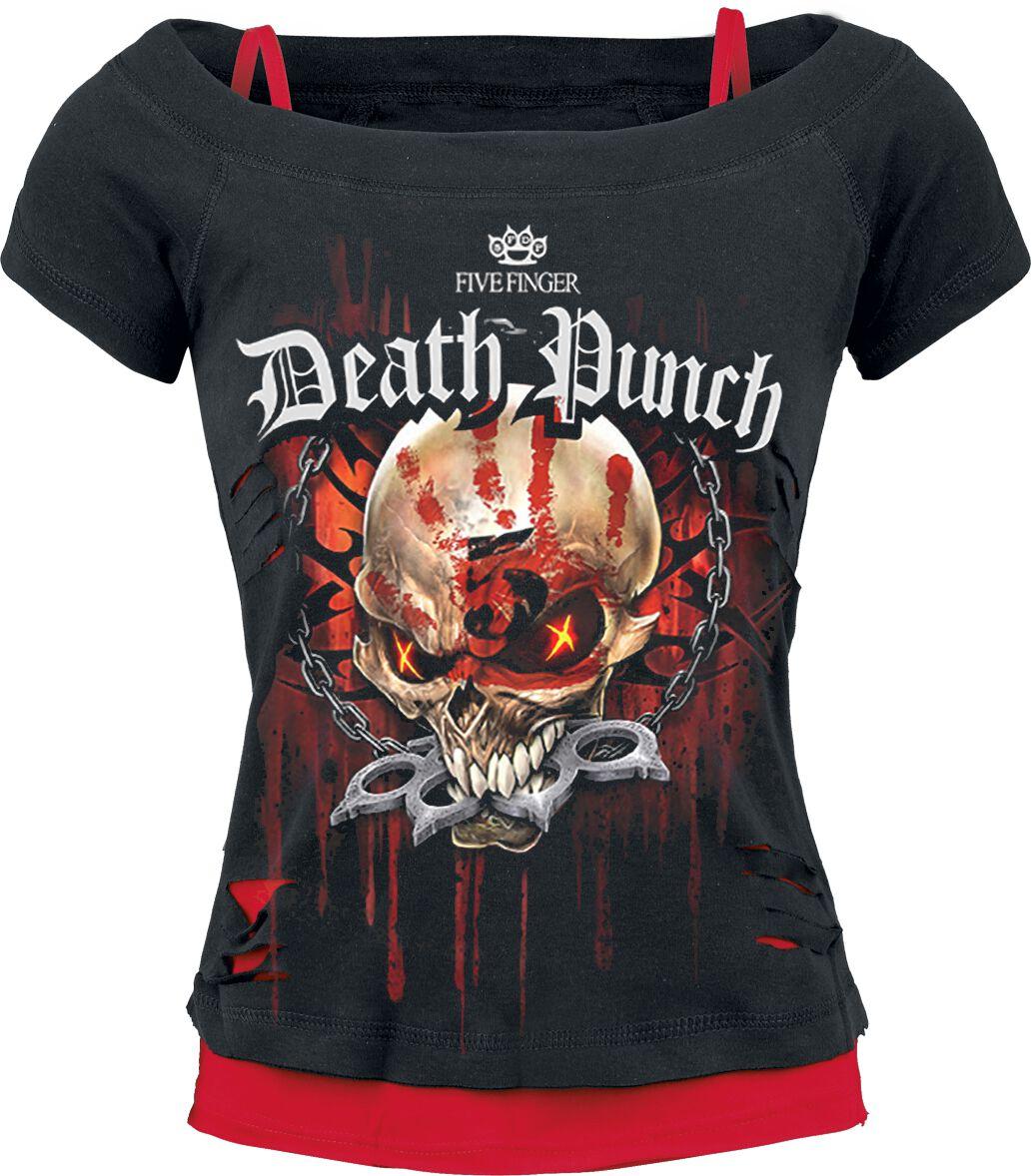 Image of   Five Finger Death Punch Assassin Girlie trøje sort-rød