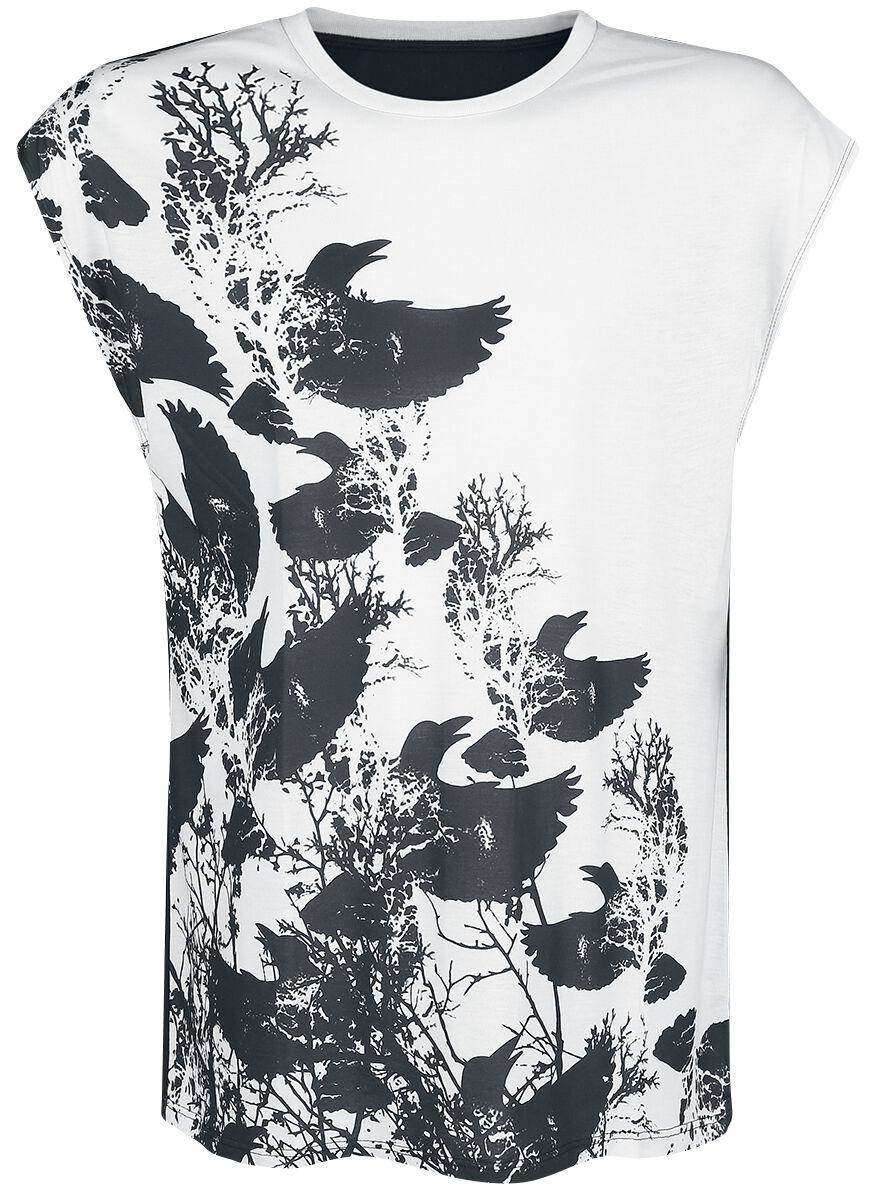 Image of   Outer Vision Raven Shadows Tanktop hvid-sort