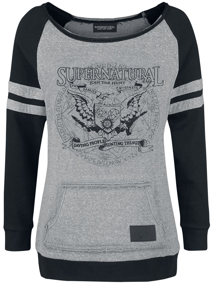 Image of   Supernatural Saving People Hunting Things Girlie sweatshirt grå-sort
