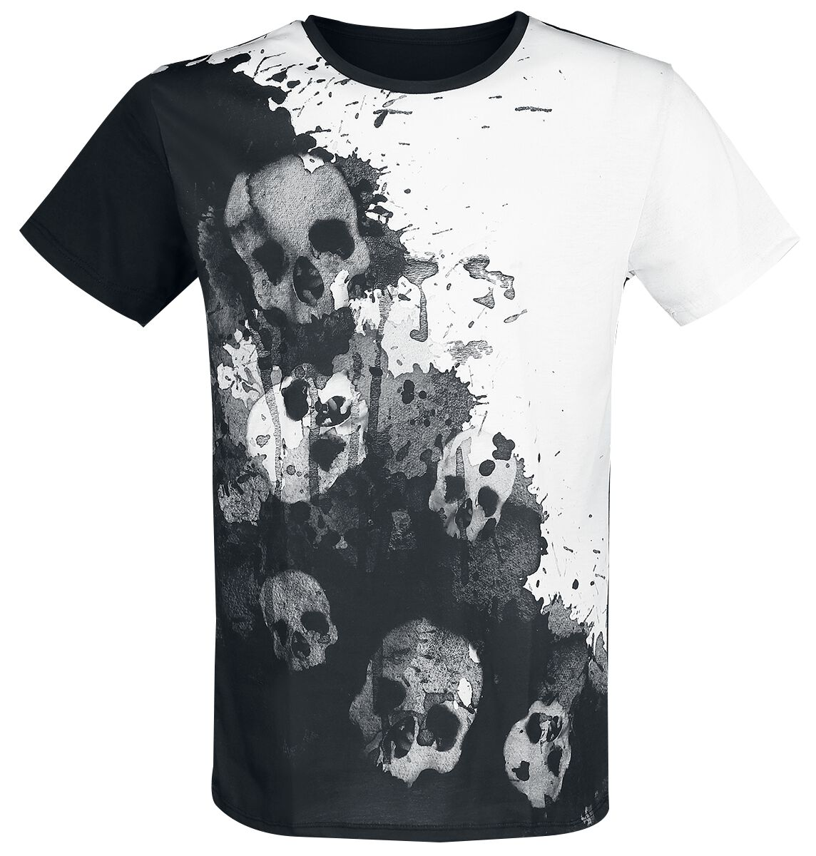 Image of   Outer Vision Dripping Skulls T-Shirt hvid-sort