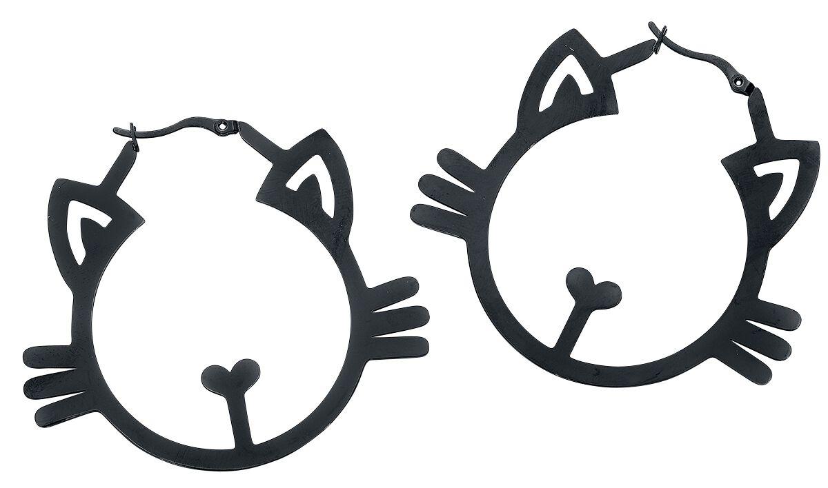 Image of   Wildcat Meow Hoops Øreringe sæt sort