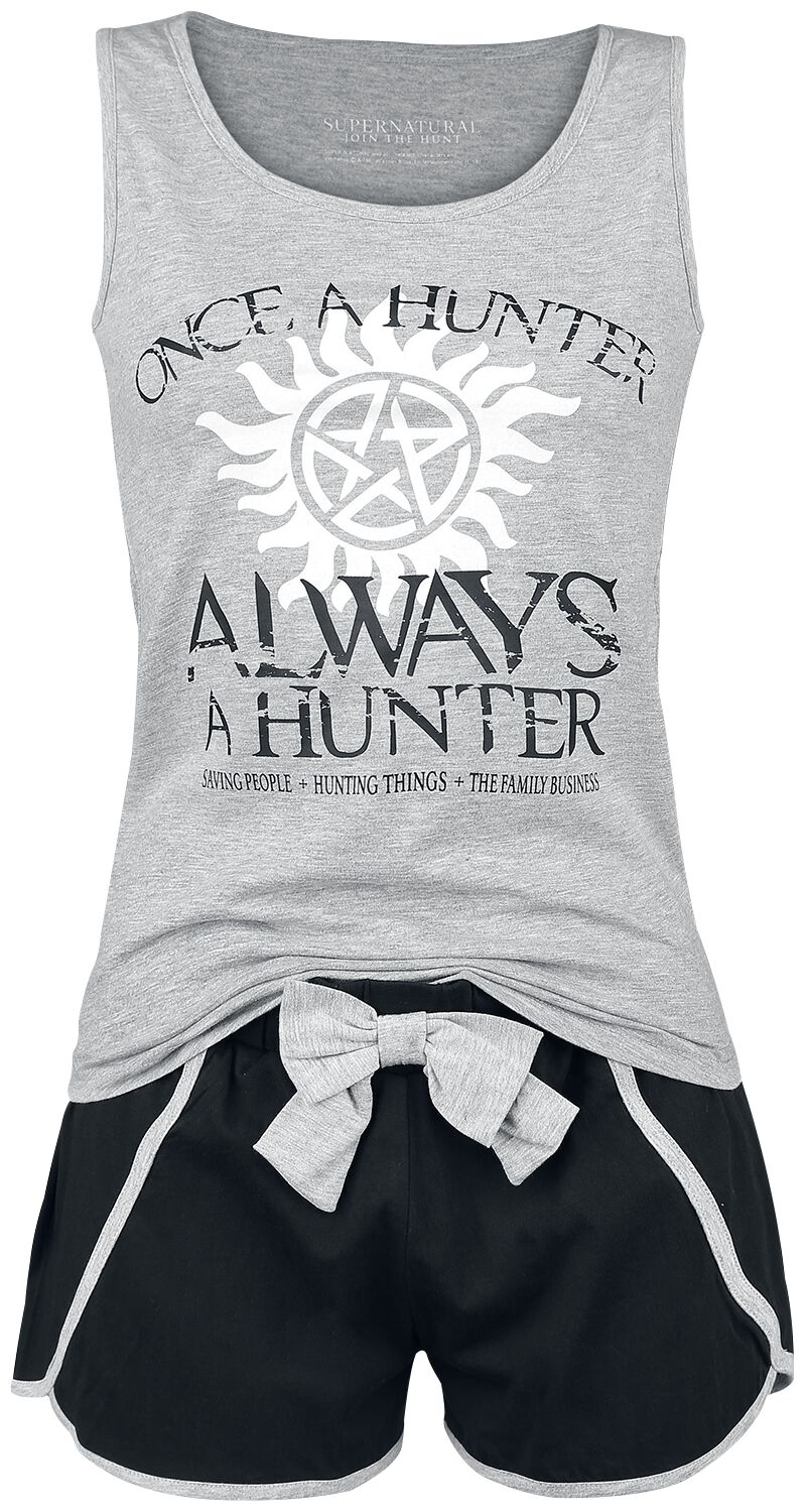 Image of   Supernatural Once A Hunter Always A Hunter Pyjamas meleret, lys grå-sort