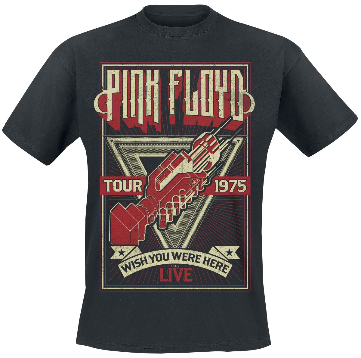 Image of   Pink Floyd Wish You Were Here Tour 1975 T-Shirt sort