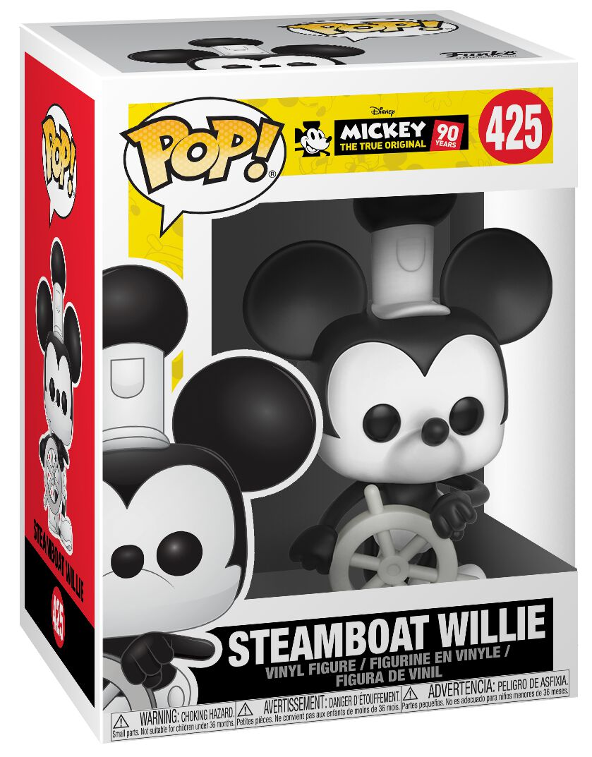 Image of   Mickey & Minnie Mouse Mickey's 90th Anniversary - Steamboat Willie Vinyl Figure 425 Samlefigur Standard