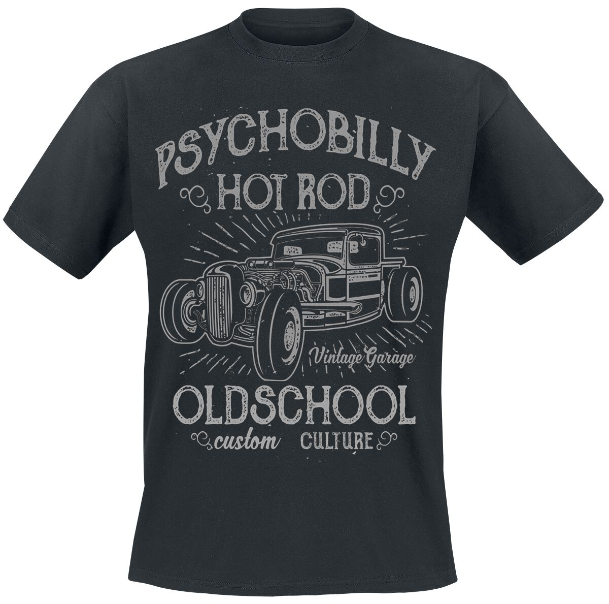 Psychobilly Hot Rod T-Shirt schwarz