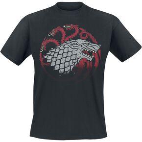 Game Of Thrones Emblèmes Stark Et Targaruen T-shirt noir