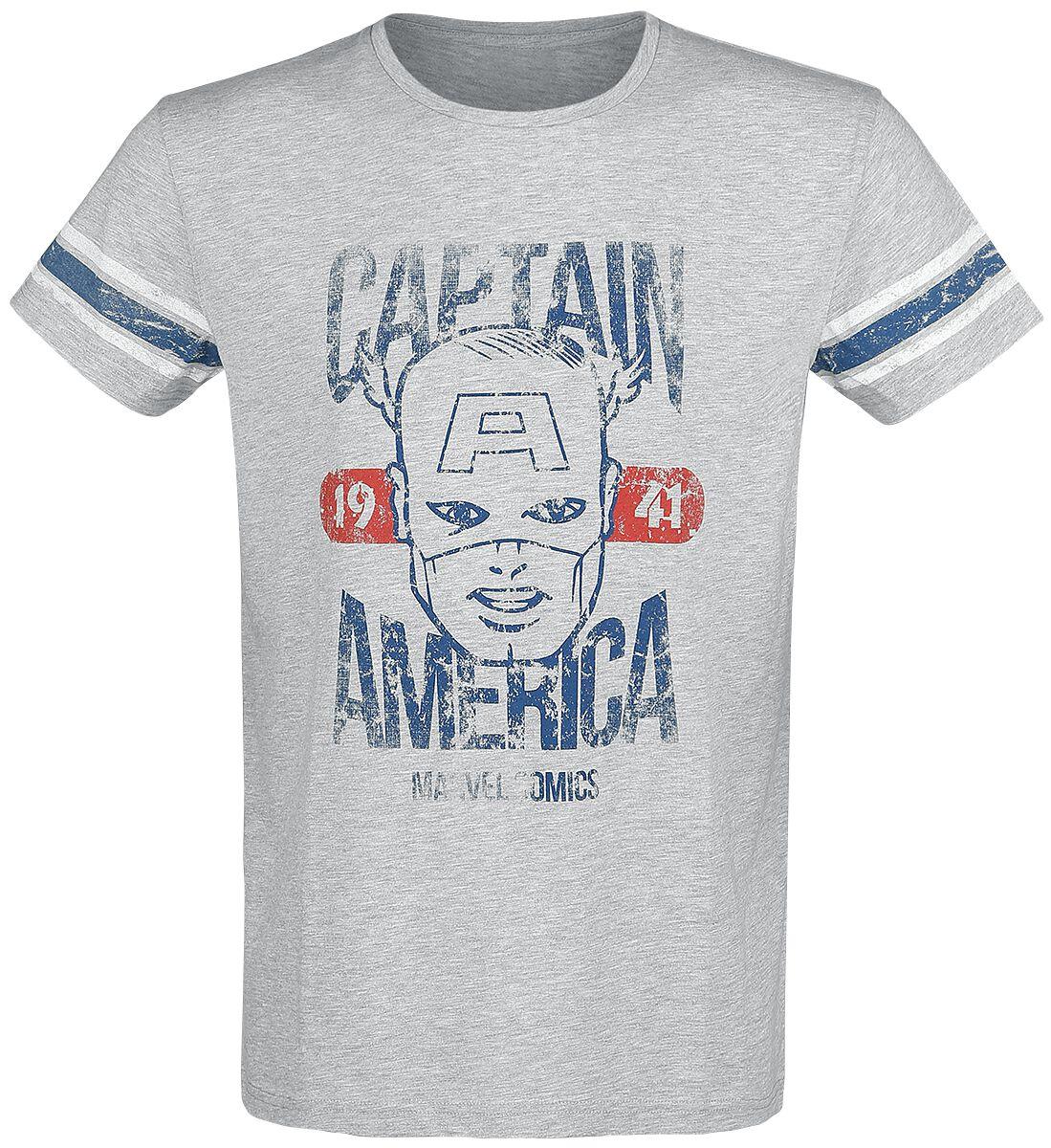 Image of   Captain America Marvel Comics 1941 T-Shirt blandet lys grå