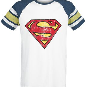 Superman Logo Vintage T-shirt blanc/ bleu moucheté