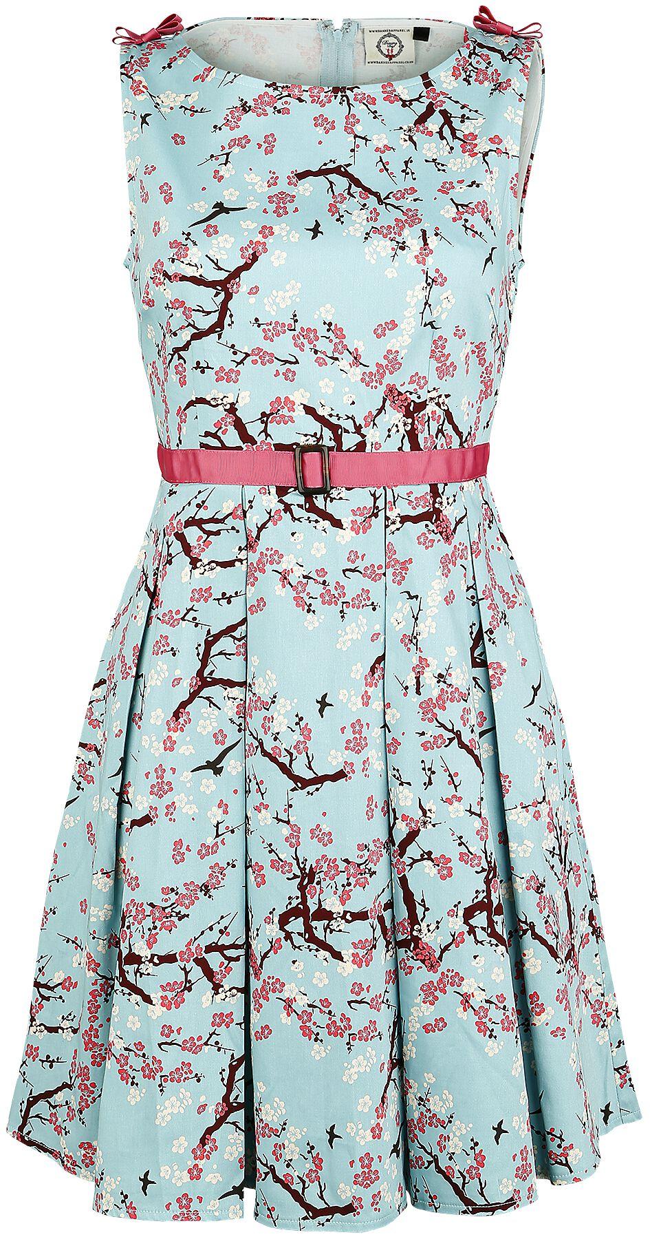 Image of   Banned Oriental Blossom Kjole lys blå-hvid-sort