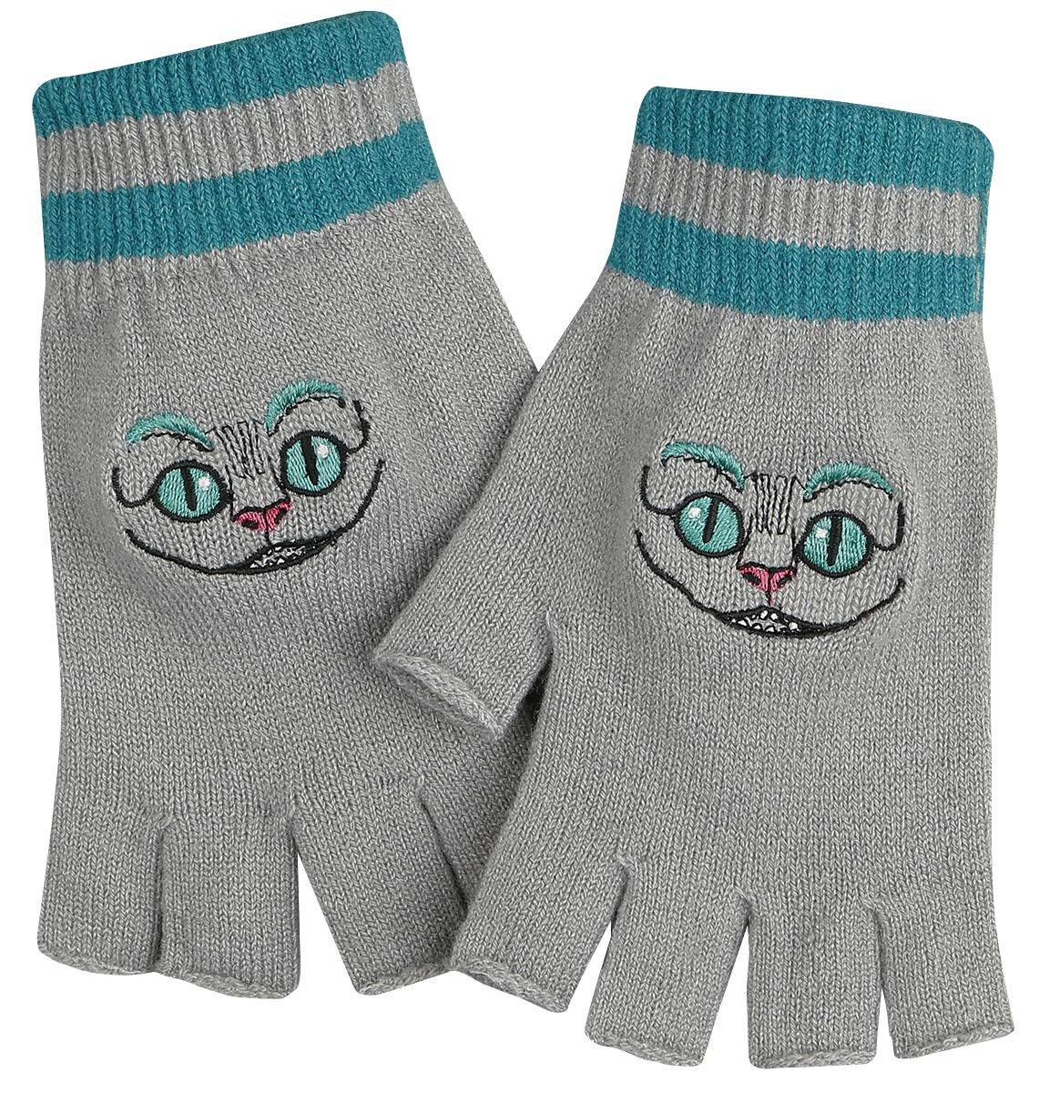 Image of   Alice i Eventyrland Filurkatten Fingerløse handsker grå-blå