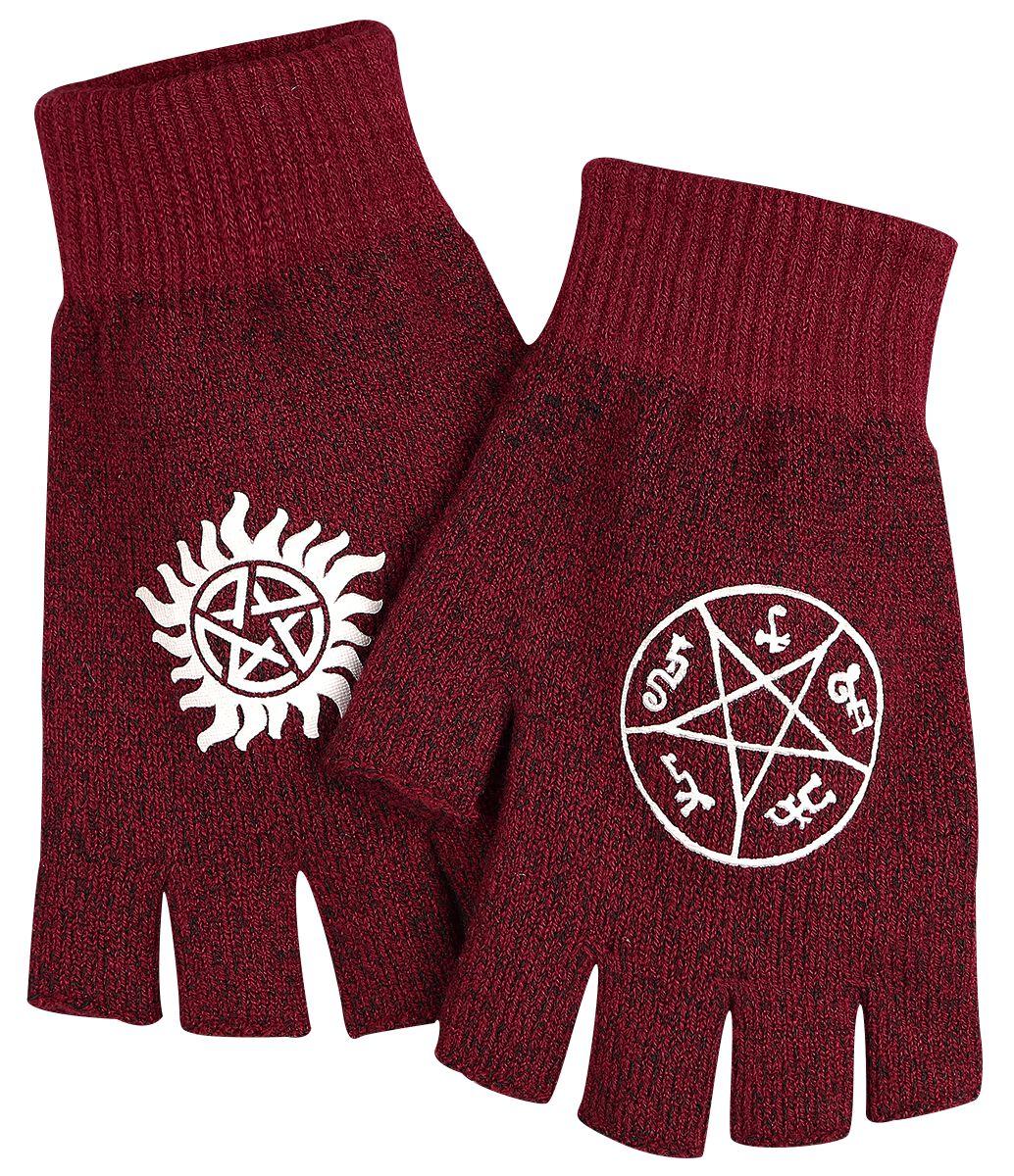 Image of   Supernatural Symbols Fingerløse handsker rød-hvid