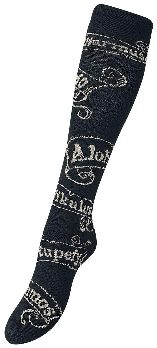 Socken für Frauen - Harry Potter Spells Overknees schwarz gold  - Onlineshop EMP