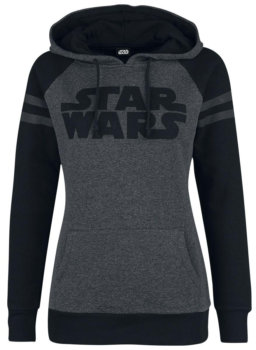 Star Wars Logo And Stripes Bluza z kapturem damska odcienie szarego/czarny