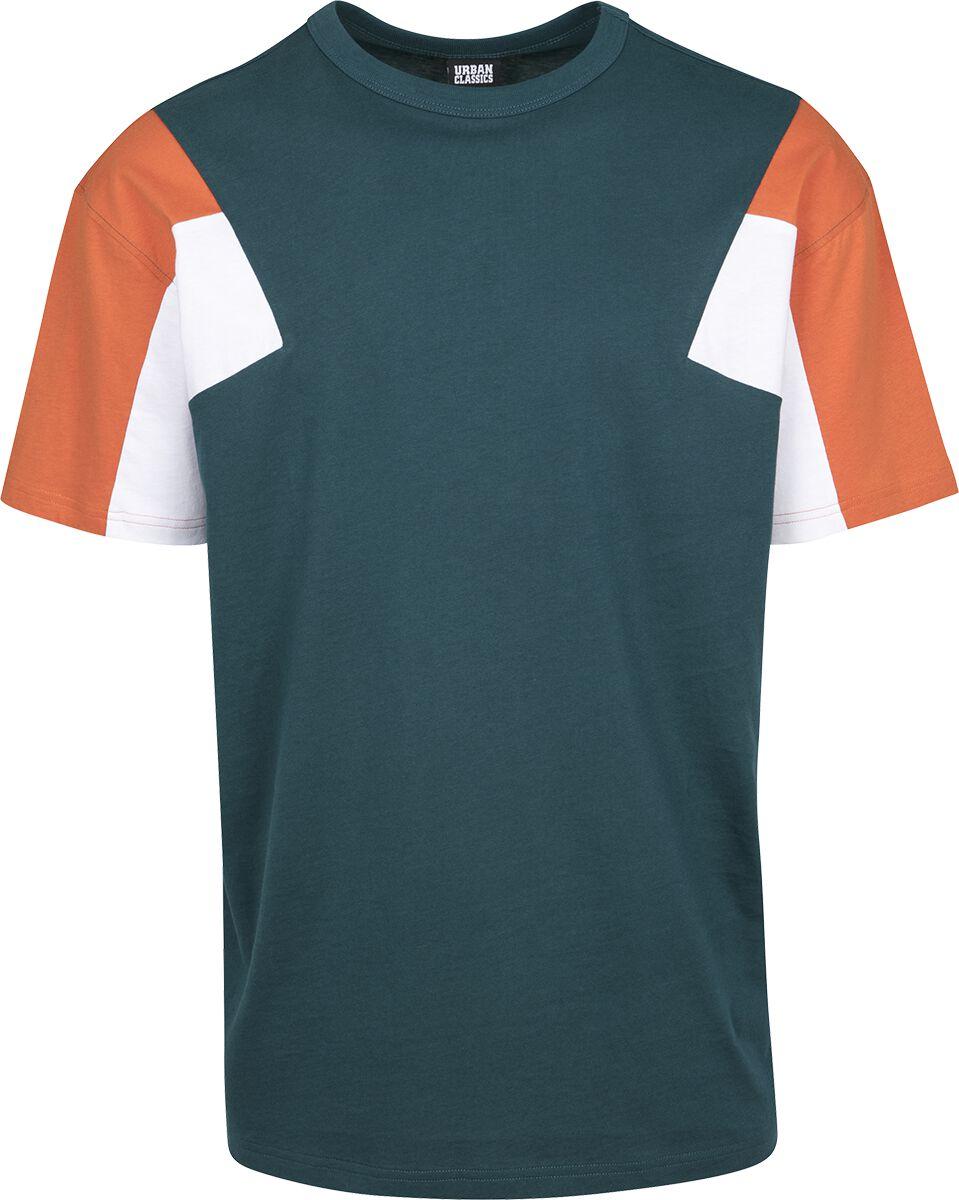 Image of   Urban Classics 3-Tone Tee T-Shirt grøn-hvid-orange