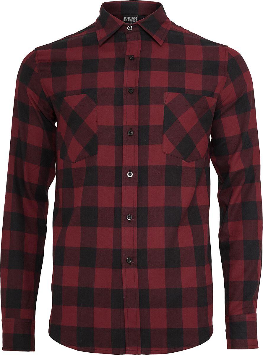 Image of   Urban Classics Checked Flannel Shirt Skjorte sort-burgundy