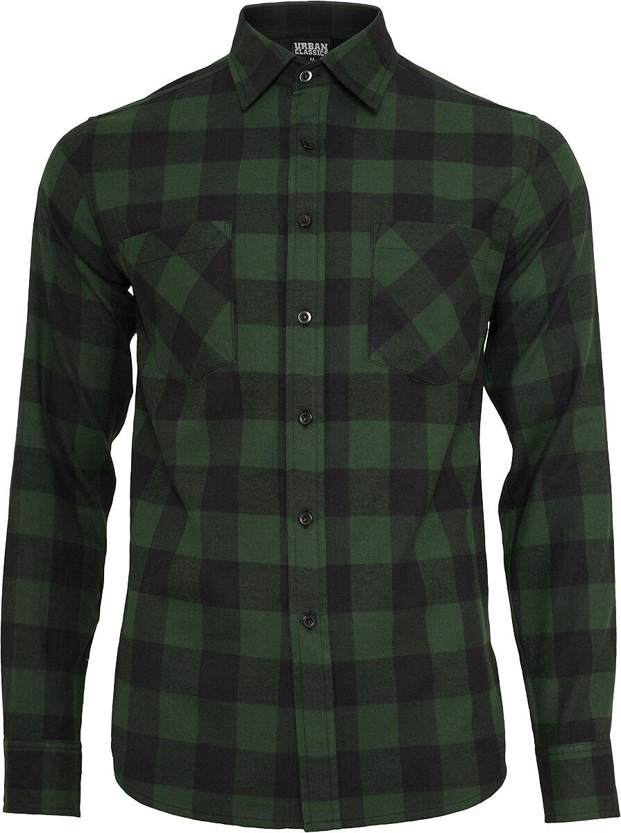 Image of   Urban Classics Checked Flannel Shirt Skjorte sort-mørk grøn
