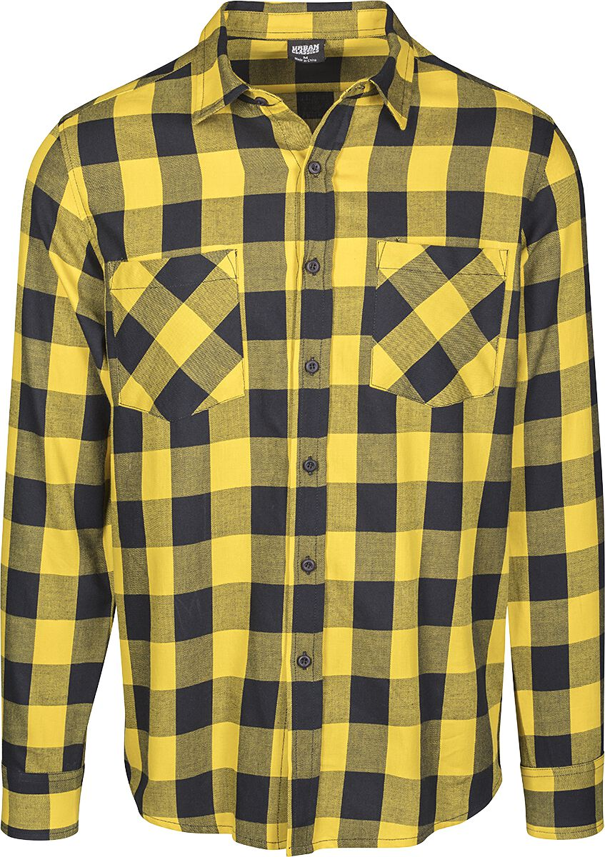 Image of   Urban Classics Checked Flannel Shirt Skjorte sort-gul