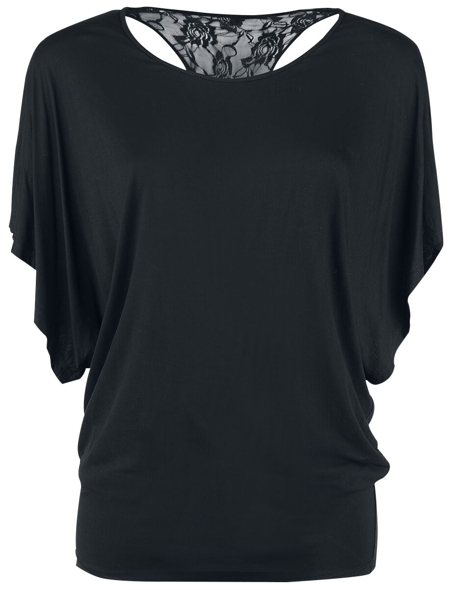 Image of   Forplay Lace Back Bat Wings Girlie trøje sort