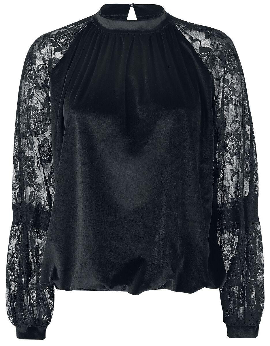 Image of   Forplay Velvet Lace Mix Sweater Girlie langærmet sort