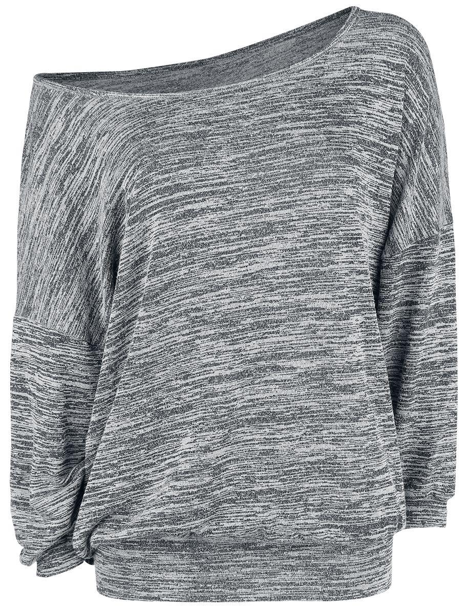 Image of   Forplay Oversized Melange Wideneck Sweater Girlie langærmet grålig