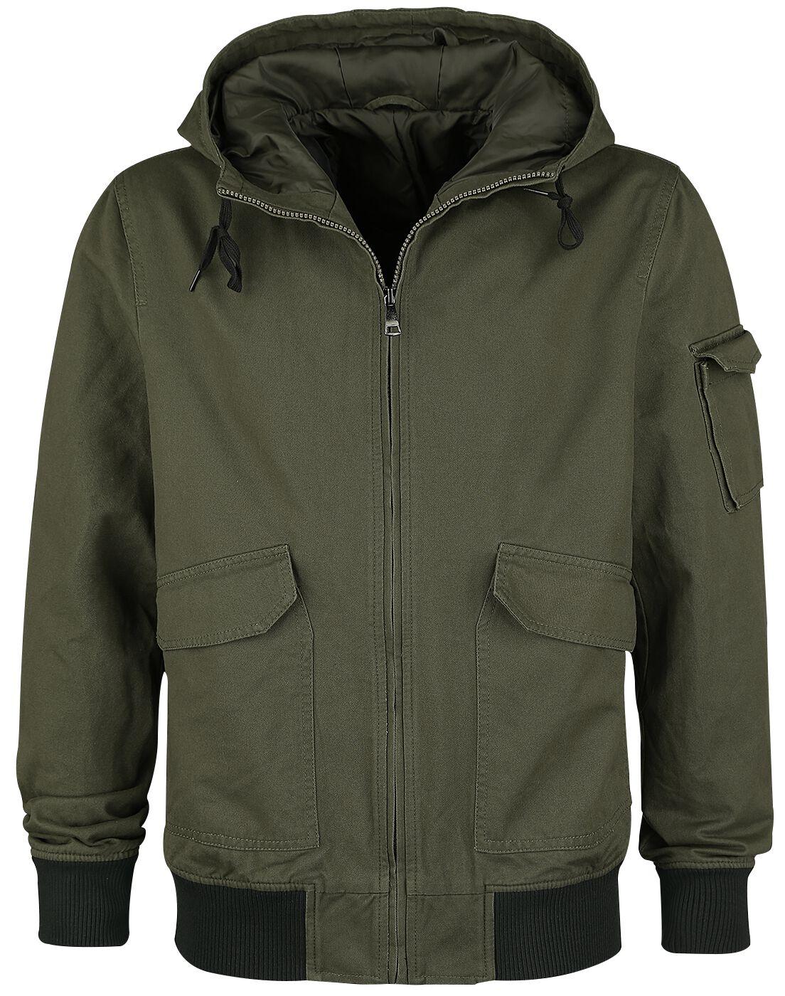 Image of   Forplay Hooded Canvas Jacket Jakke olivengrøn-sort