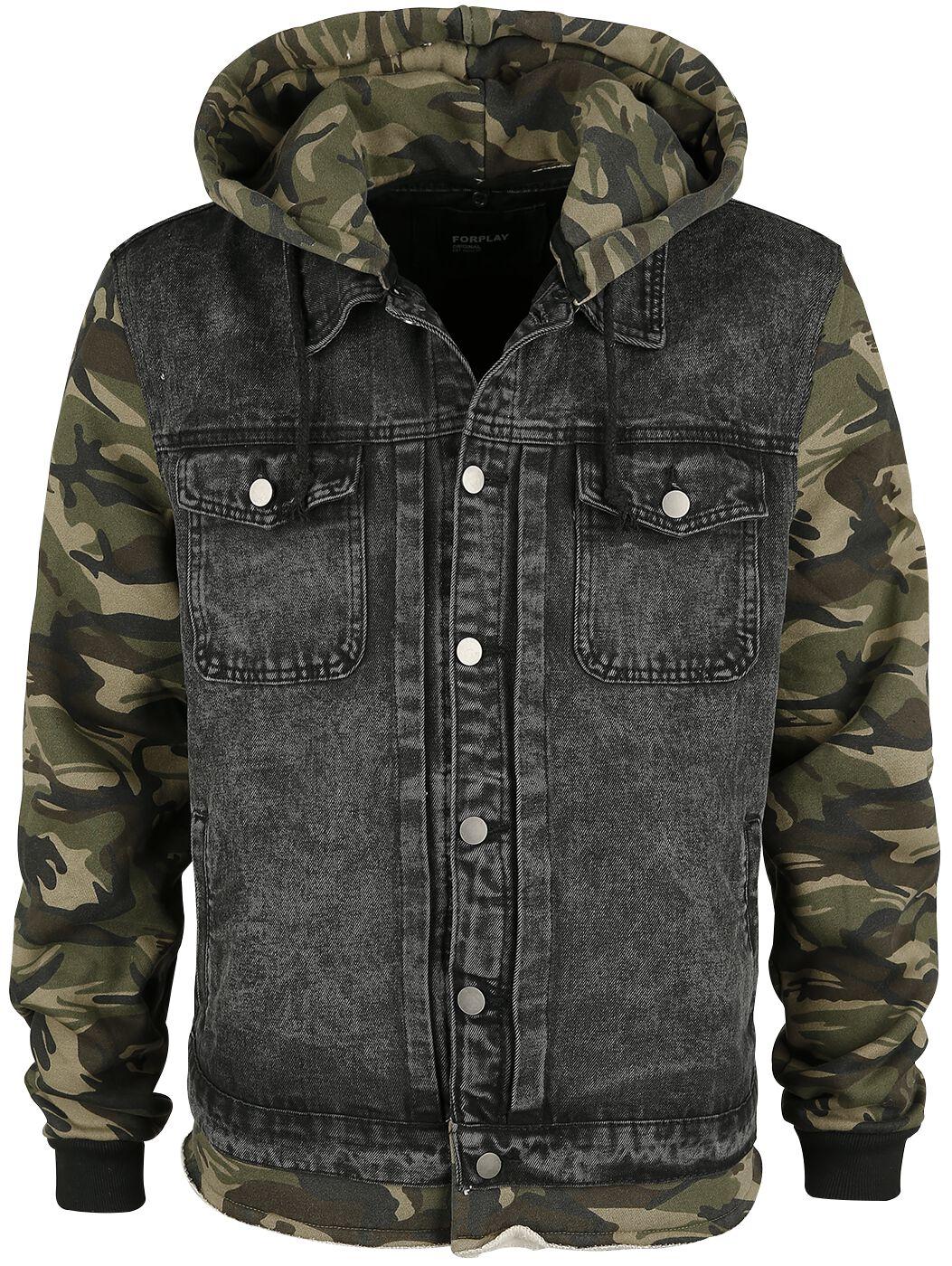 Image of   Forplay Denim-vest med hætte Jakke camouflage sort