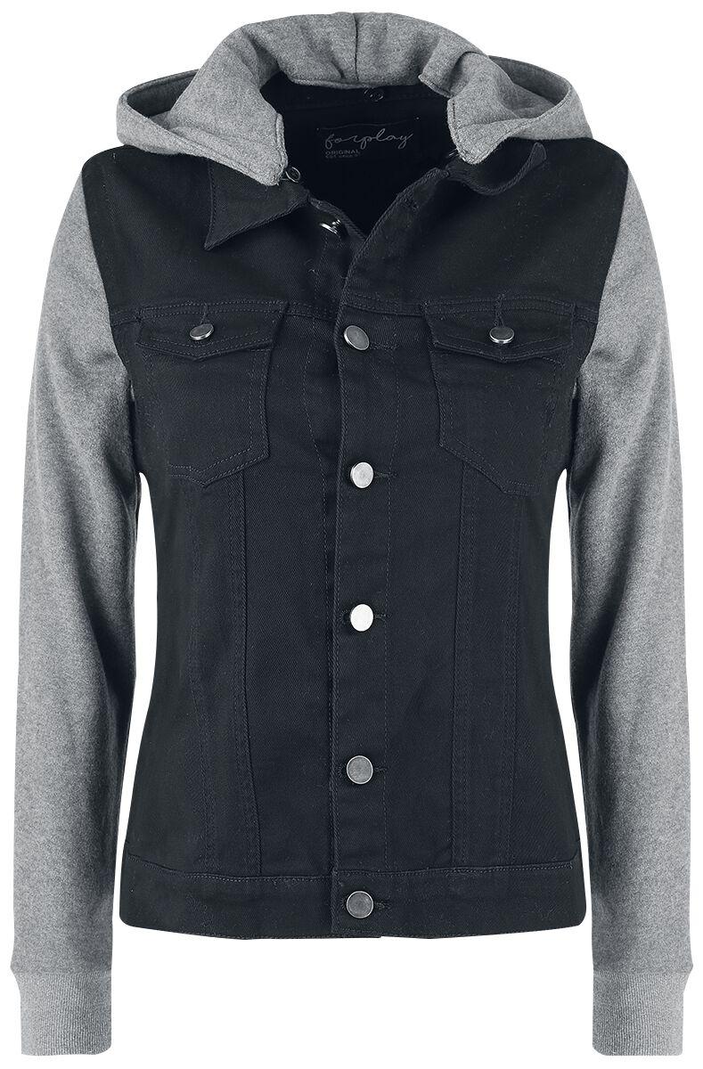 Image of   Forplay Ladies Sweat Sleeved Hooded Denim Vest Jakke sort-grå