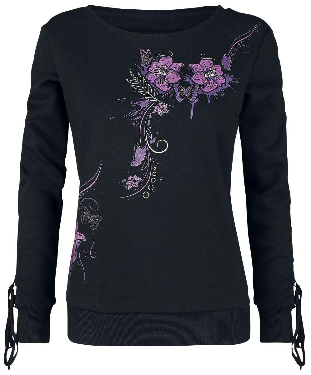 Image of   Full Volume by EMP Corded Longsleeve With Floral Print Girlie sweatshirt sort