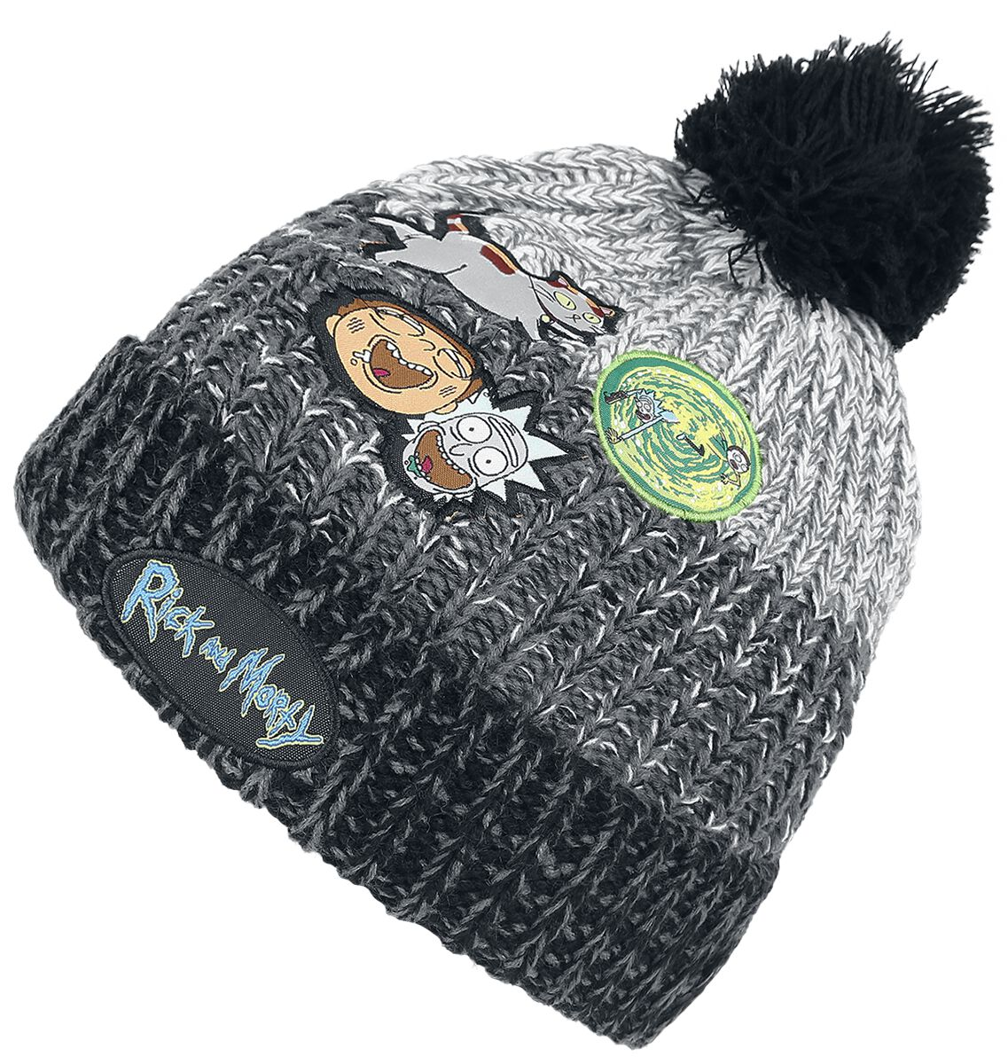 Image of   Rick And Morty Patchwork - Pom Beanie Beanie sort-grå